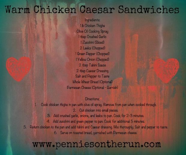 Warm Chicken Caesar Sandwiches